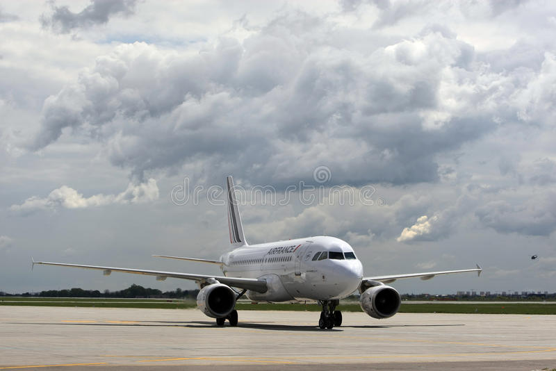 Air France Airbus A319 Aircraft model. An Air France Airbus A319 Aircraft can be seen at Henri Coanda International Airport, in Otopeni, Romania stock photos