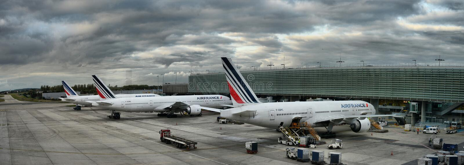 Air France airbus airplane parked on Paris airport people are boarding to the flight. France, Paris, Charles de Gaulle, October 10 2017 stock images
