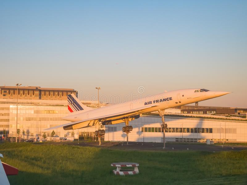 Air France airplane modal in the airport. France, MAY 7: Air France airplane modal in the airport on MAY 7, 2018 at France royalty free stock photos