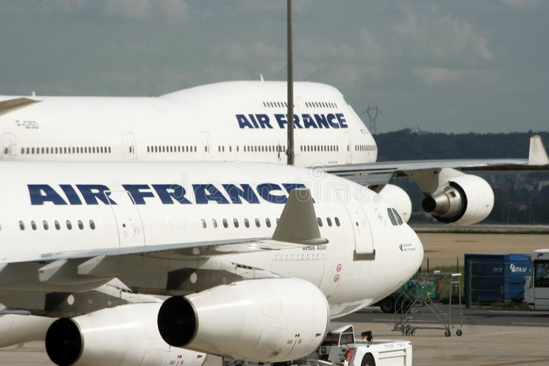 Air France airplanes are close-up. stock images