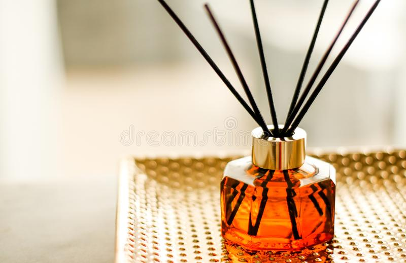 Home fragrance bottle, european luxury house decor and interior design details. Air freshener, reed diffuser and aromatherapy concept - Home fragrance bottle royalty free stock photos