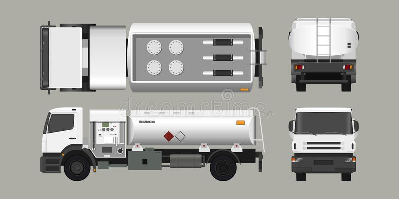 Air fuel truck. Front, side, top and back view. Maintenance of aircraft. Industrial 3d realistic blueprint royalty free illustration
