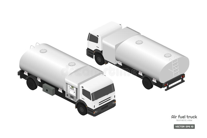 Air fuel truck in isometric style. Maintenance of aircraft. Airfield transport. Tanker for airplane. Industrial drawing stock illustration