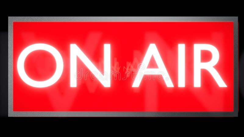 ON AIR glowing red and white sign. 3D render. stock illustration