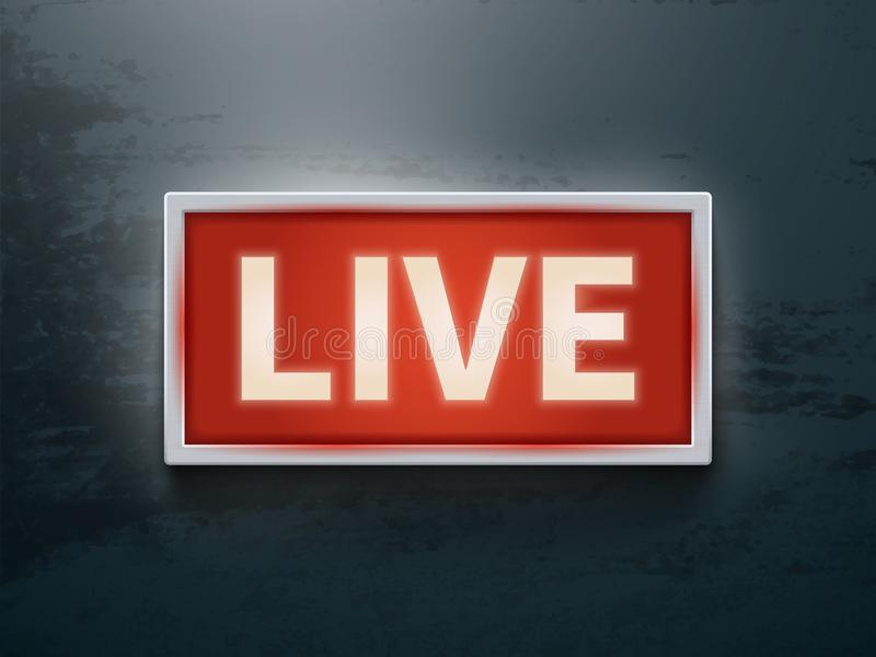 On air glowing sign. Live tv or radio light vector symbol royalty free illustration