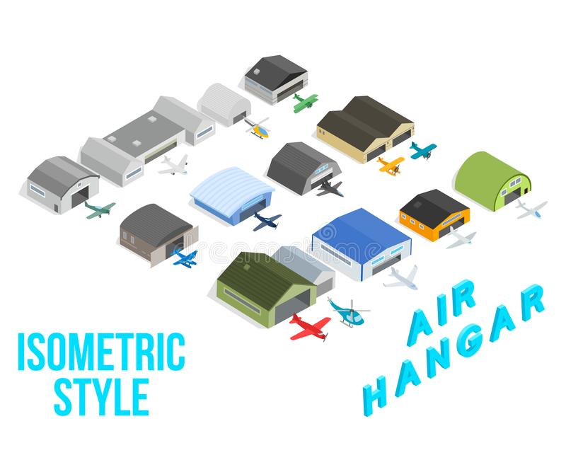 Air hangar concept icons set, isometric style vector illustration