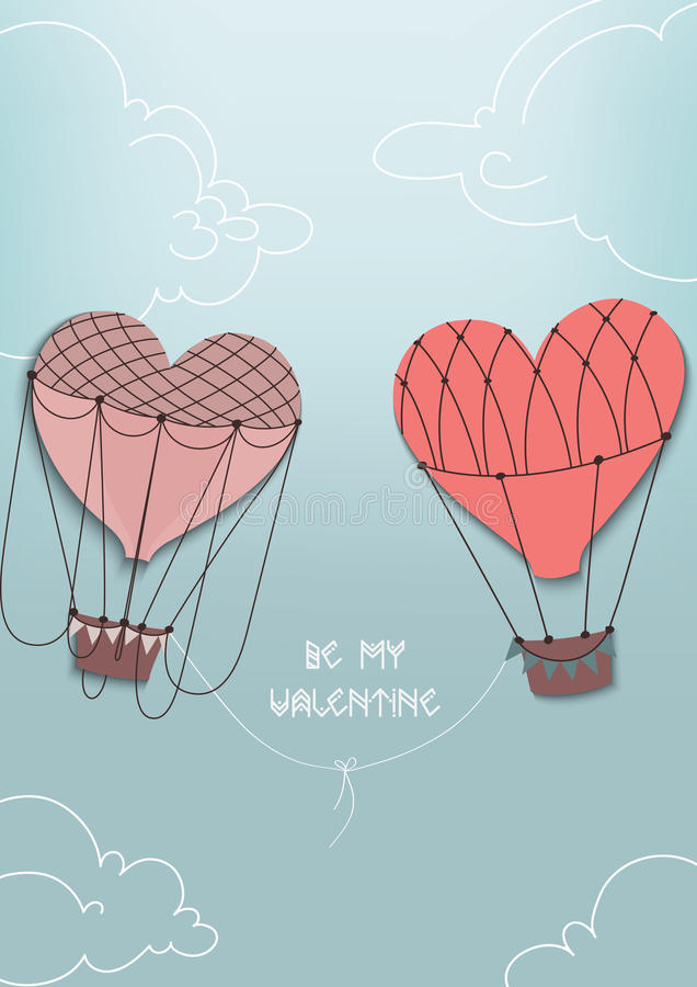 Air heart fly together. Balloons - heart fly together in the clouds and blue sky stock illustration
