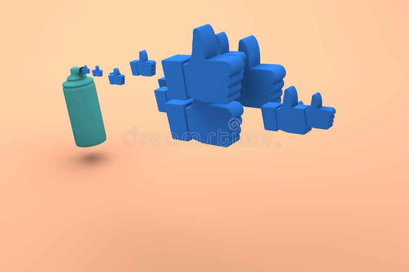 Air horn releases thumb up icons. Concept photo like. 3d render royalty free illustration