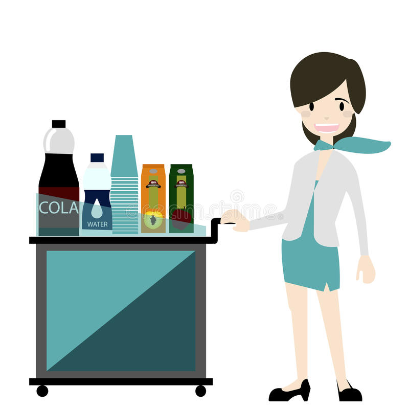 Air hostess serve snack and drinks on Flight vector royalty free stock photography