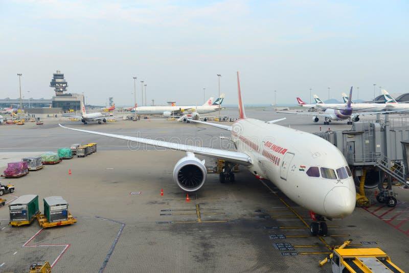Air India Boeing 787 in Hong Kong Airport royalty-vrije stock fotografie