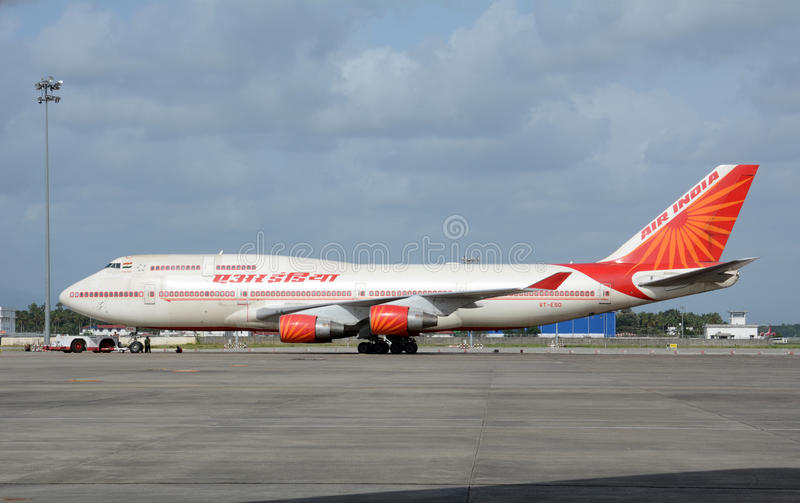 Air India Boeing 747. KOCHI, INDIA - AUGUST 23, 2017: An Air India Boeing 747 on the tarmac at Cochin International Airport. Air India is the flag carrier stock photo