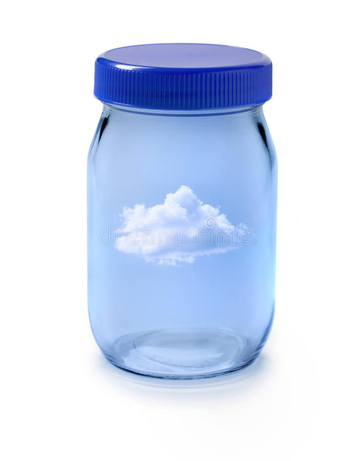 Air Jar Cloud Sky. A glass jar with a single cloud in a blue sky isolated on white stock image