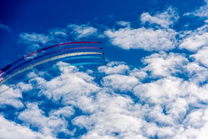 Air jets in the sky stock images