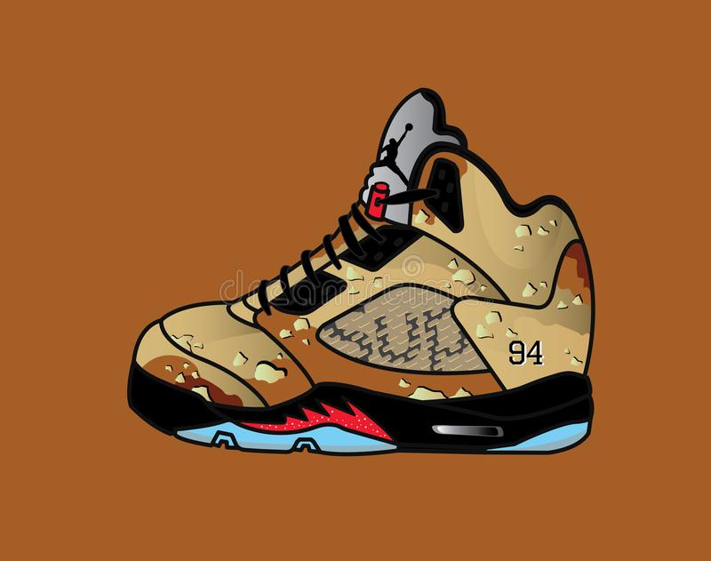 Air Jordan 5. The Air Jordan 5 is Michael Jordan's third signature basketball shoe royalty free illustration