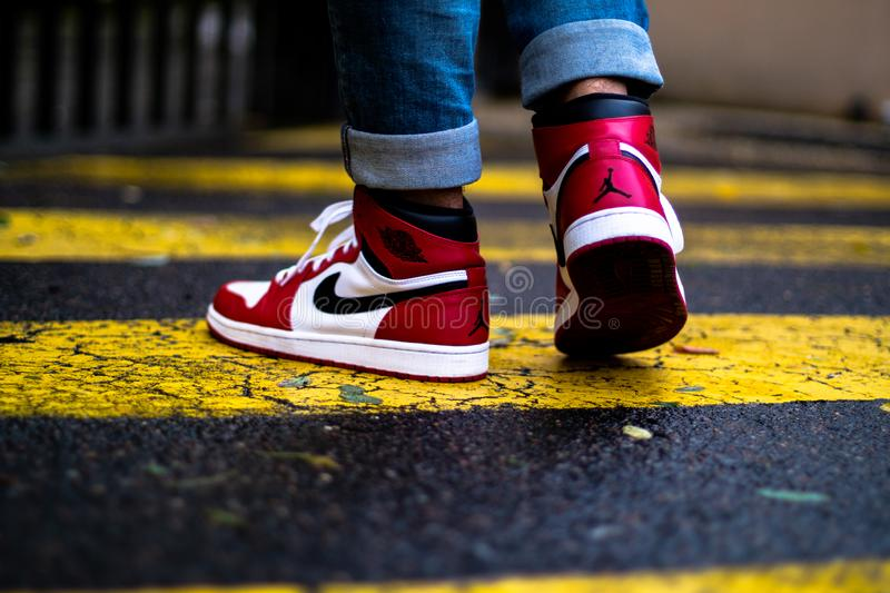 Air Jordan 1 chicago. One of more classic Jordan 1 ever, On Feet stock photography