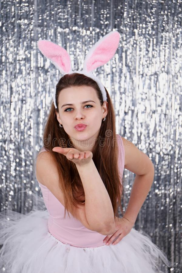 Air kiss from the Easter bunny stock photo