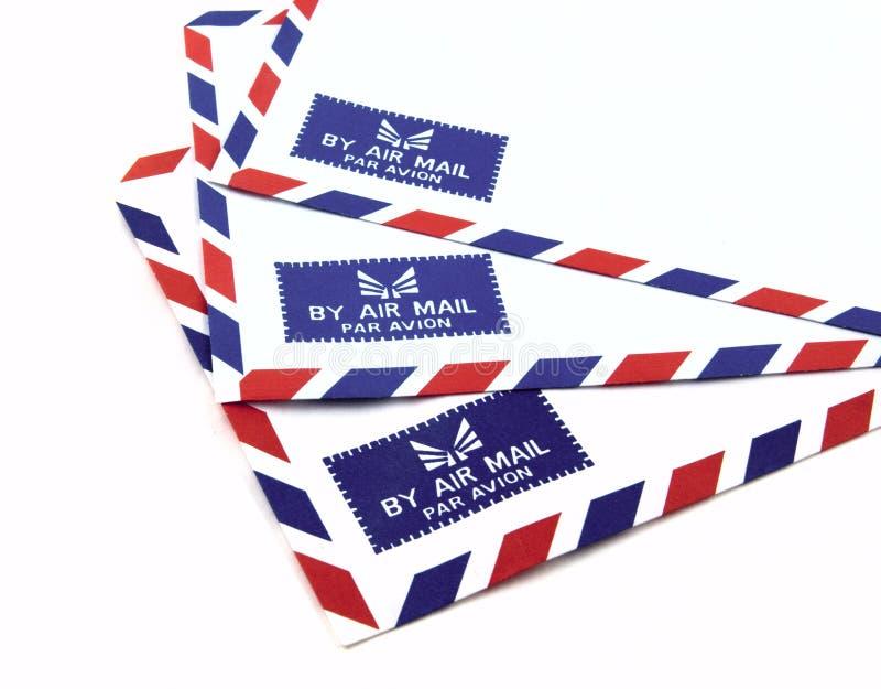 Air mail. Envelope shot on white background royalty free stock photos