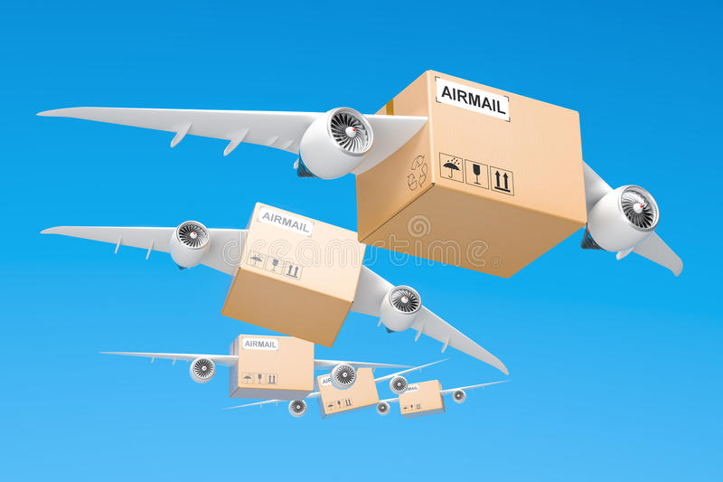Air mail delivery concept. Parcels with wings flying in the sky, 3D rendering vector illustration
