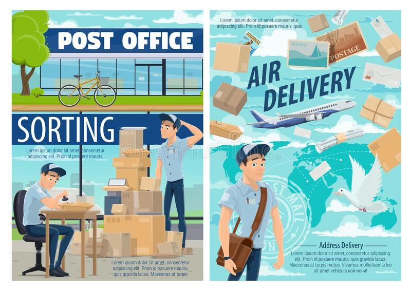 Air mail delivery, postman at post office stock illustration