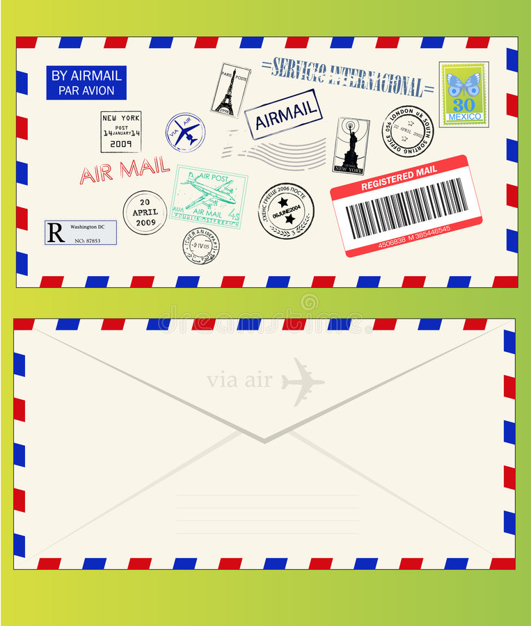 Air mail envelope with postal stamps royalty free illustration
