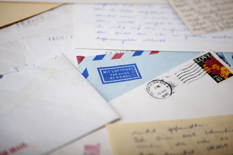 Air Mail envelopes with old letters stock photo