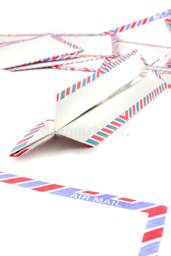 Air Mail Envelopes With Paper Plane Royalty Free Stock Images