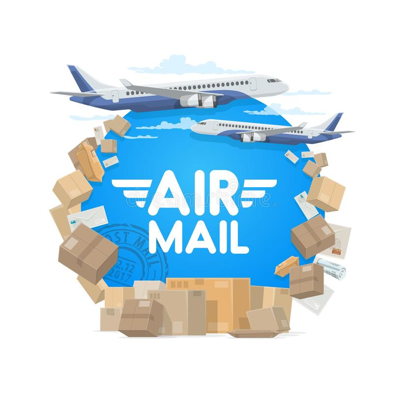Air mail and shipping, parcels and letters. Air mail, isolated round frame of parcels, letters and plane. Vector airplane in sky and cargo, letter envelopes and vector illustration