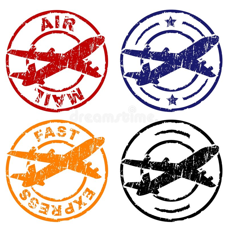 Air mail stamp stock illustration