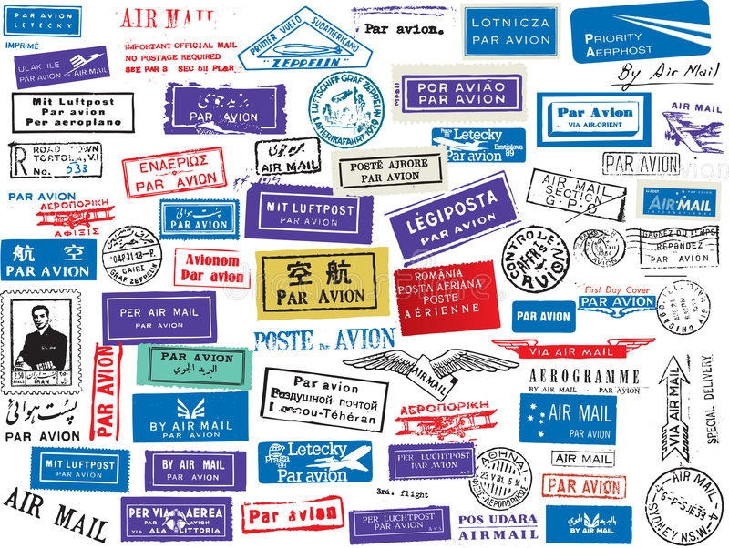 Download Air mail stamp set stock vector. Image of mail, supervision - 8649976