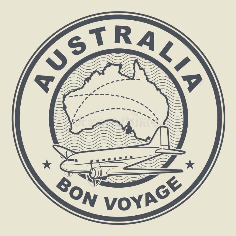 Air mail or travel stamp, Australia theme royalty free illustration