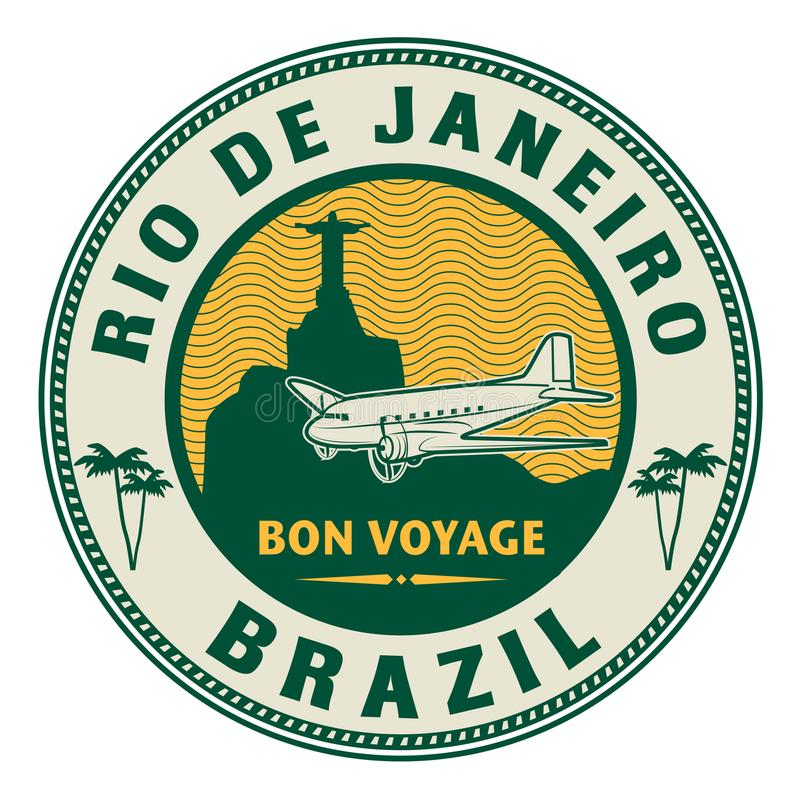 Air mail or travel stamp, Rio de Janeiro, Brazil theme stock illustration