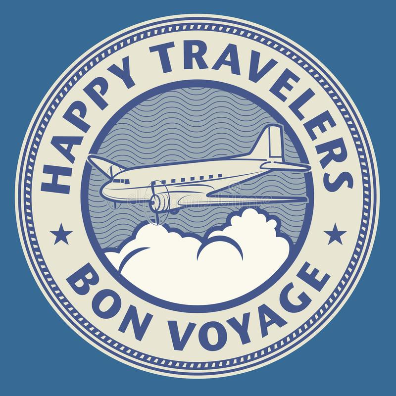 Air mail or travel stamp, with text Happy Travelers, Bon Voyage vector illustration
