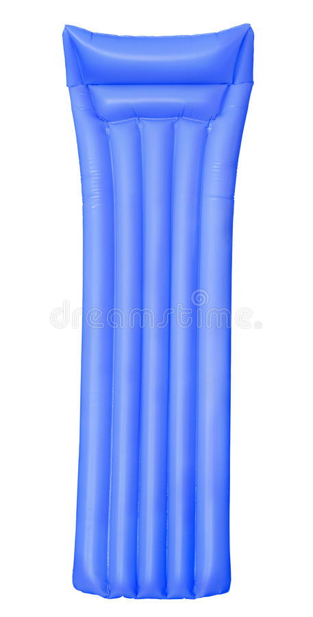Air matress. Blue air pool matress isolated on white royalty free stock photography