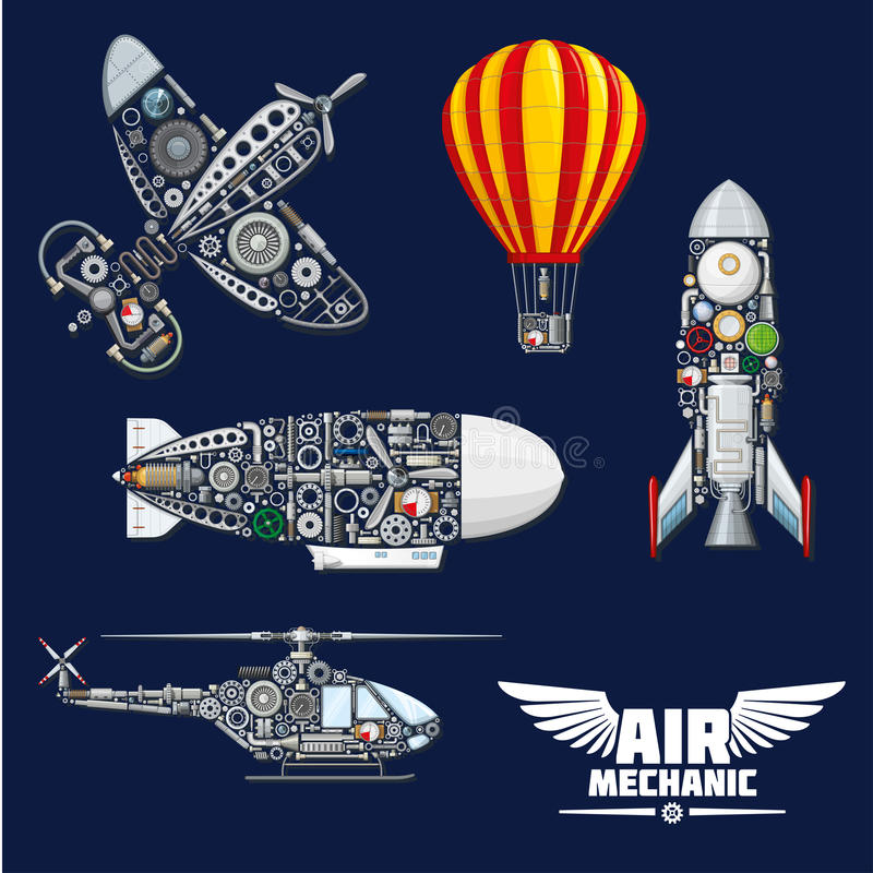 Air mechanics and mechanisms vector icons set. Air mechanics vector aircrafts and mechanisms. Construction parts, engines or gears, gauges, and nuts elements of vector illustration