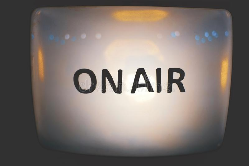 On Air message on old vintage retro Television close up stock images