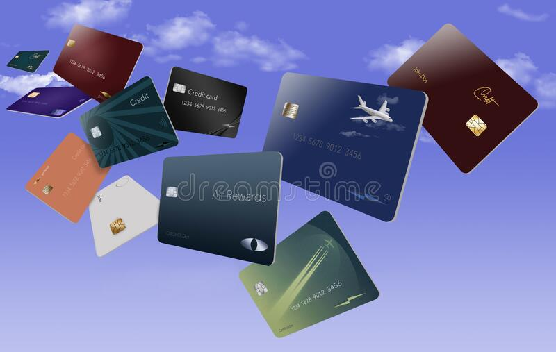 Air miles rewards credit cards are seen floating. In the sky royalty free stock images