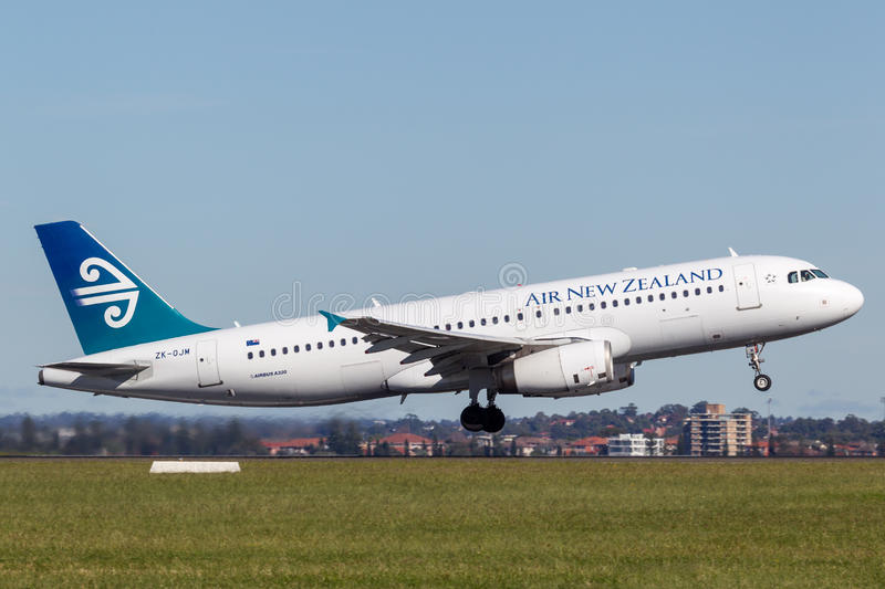 Air New Zealand Airbus A320 taking off from Sydney Airport. stock photo