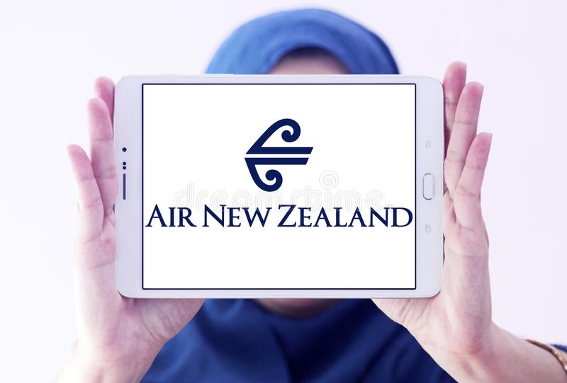 Air new zealand logo. Logo of air new zealand on samsung tablet holded by arab muslim woman royalty free stock photos