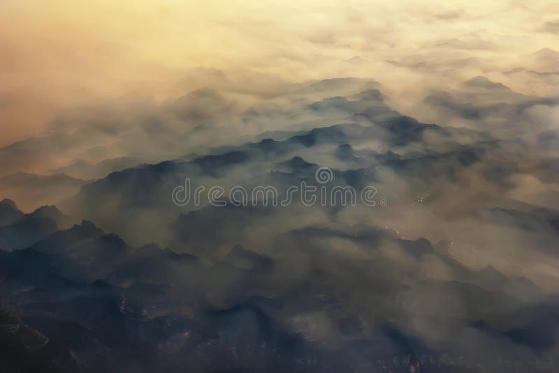 From the air, overlooking the Qinling Mountains. Qinling Mountains in central China, which spans the great east-west mountain range, west of the northern part of stock image