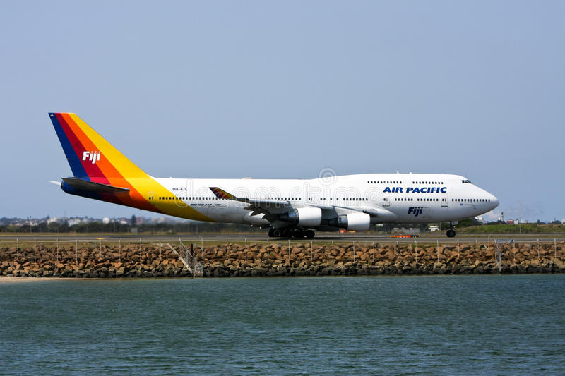 Air Pacific Boeing 747 jet on runway stock photos