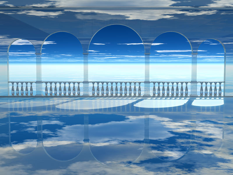 Air palace. Glass palace in the clouds stock illustration