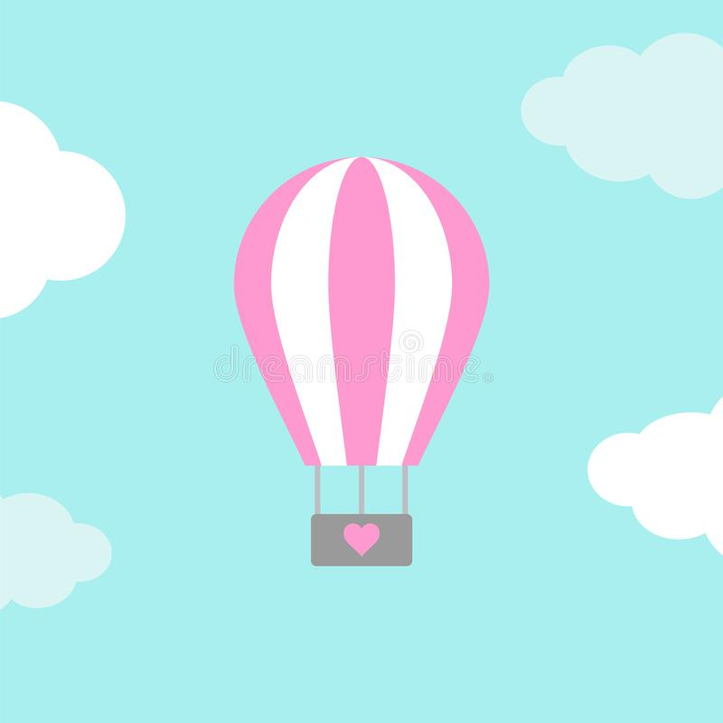 Air pink balloon with heart in the air stock illustration