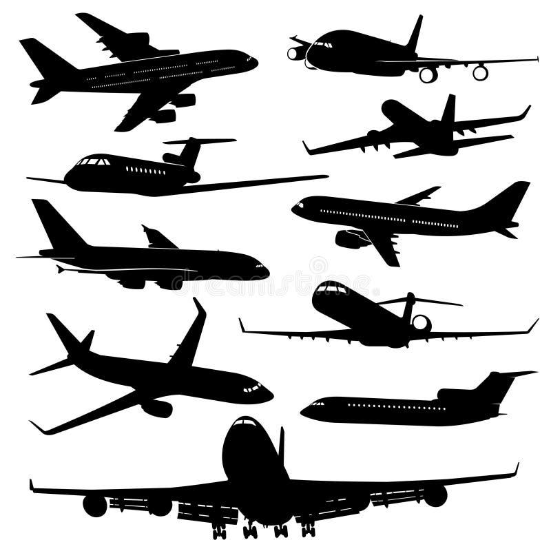 Air plane, aircraft jet vector silhouettes. Set of plane monochrome black, transportation and travel illustration stock illustration
