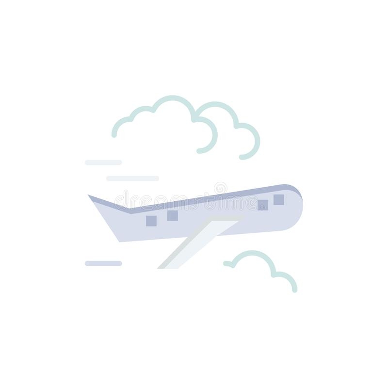Air, Plane, Airplane, Fly  Flat Color Icon. Vector icon banner Template stock illustration