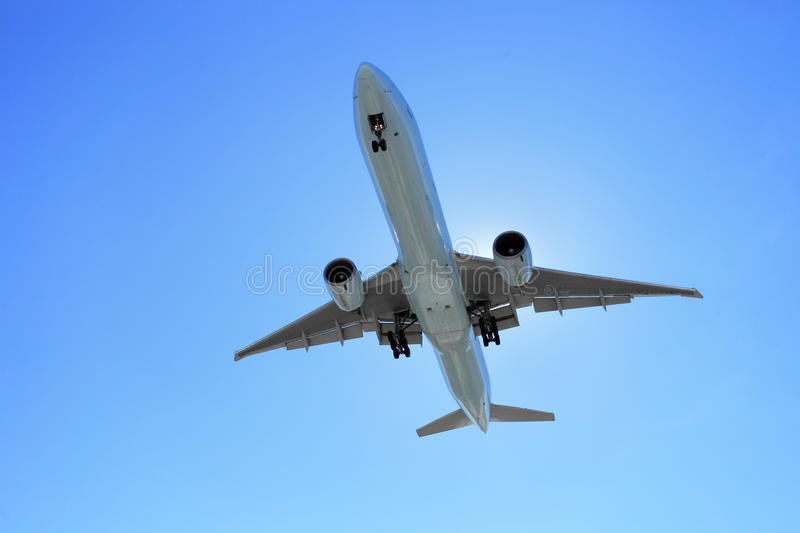 Air plane. The air plane is crossing the sky royalty free stock photo