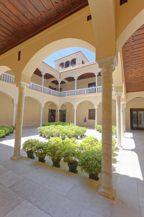 Pablo Picasso Museum, malaga, spain. architecural interest. The courtyard of Museo Picasso Malaga which features works of Pablo Picasso. Picasso was born in the stock photo