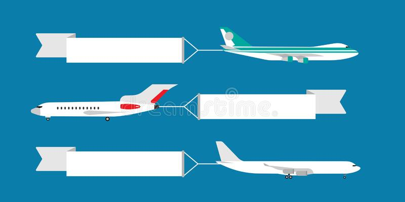 Air plane flying with ribbon banner vector illustration. Advertisement card template travel. Cartoon adventure vacation airline stock illustration