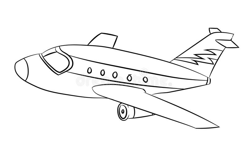 Air plane - Line Drawn Vector. Air plane Black and White Cartoon Vector Illustration for Coloring Book - Line Drawn Vector royalty free illustration