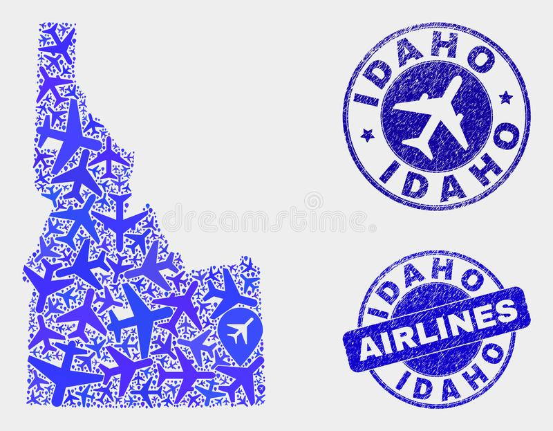 Air plane Mosaic Vector Idaho State Map and Grunge Stamps. Aircraft vector Idaho State map composition and grunge stamps. Abstract Idaho State map is organized vector illustration
