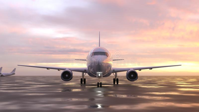 Airplane on the runway. Air plane on the runway stock illustration